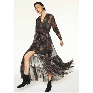 ba&sh Hendrix Robe Maxi Dress Noir Floral Black 1
